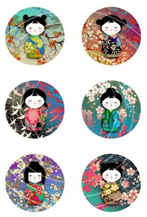 chiyogami washi dolls circles