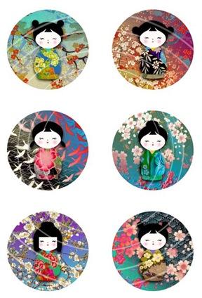 chiyogami washi dolls circles