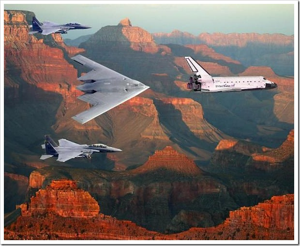 Grand Canyon with View of Shuttle
