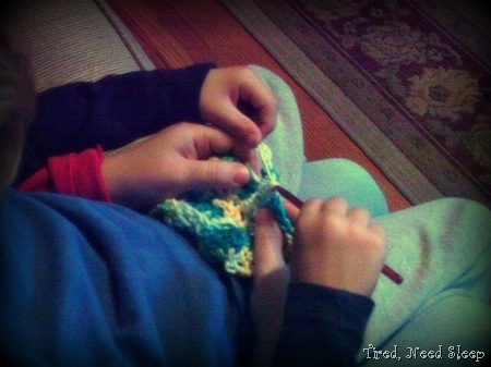 crocheting and cuddling