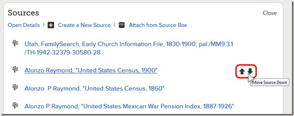 FamilySearch.org reorder sources