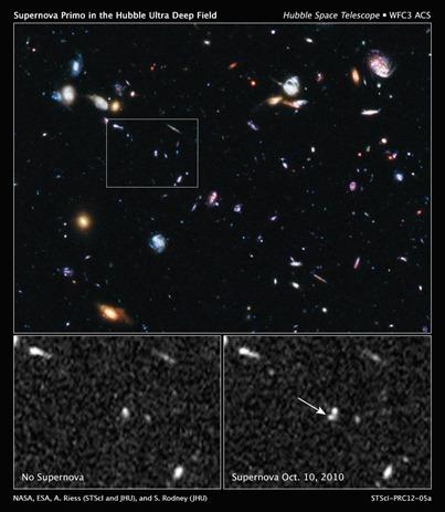 descoberta da supernova SN Primo