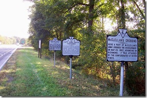 McClellan's Crossing marker W-14 along U.S. Route 60 in New Kent County, VA