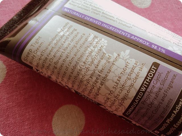 Sranrom Sleep Tight Body Cream ingredients