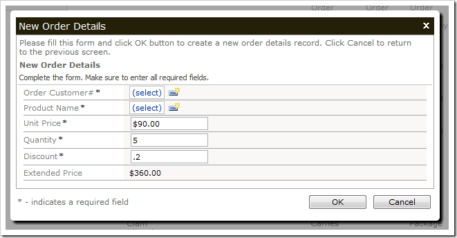 New Order Details form with a calculated Extended Price.