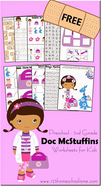 Doc McStuffins Preschool Worksheets (freebie!)