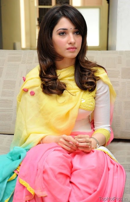 Tamanna Hot in Yellow Indian Dress photos 7