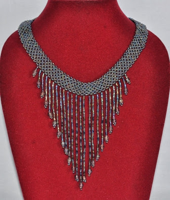 Glass Beads Necklace Hand Crotchet