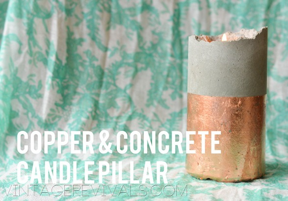 Copper Leafed Concrete Candle Pillar