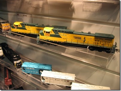IMG_5338 HO-Scale Chicago & North Western AC4400CWs, one renumbered for Union Pacific, by Athearn at the WGH Show in Portland, OR on February 17, 2007