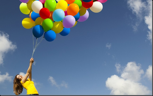 Holding baloons