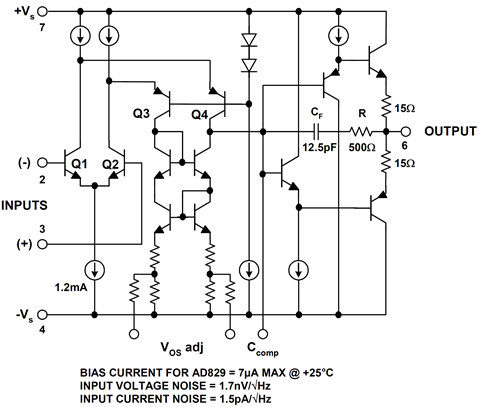 AD829 op amp simplified schematic