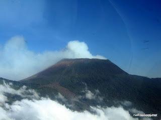 Vue aérienne du volcan Nyiragongo à Goma, 2006.
