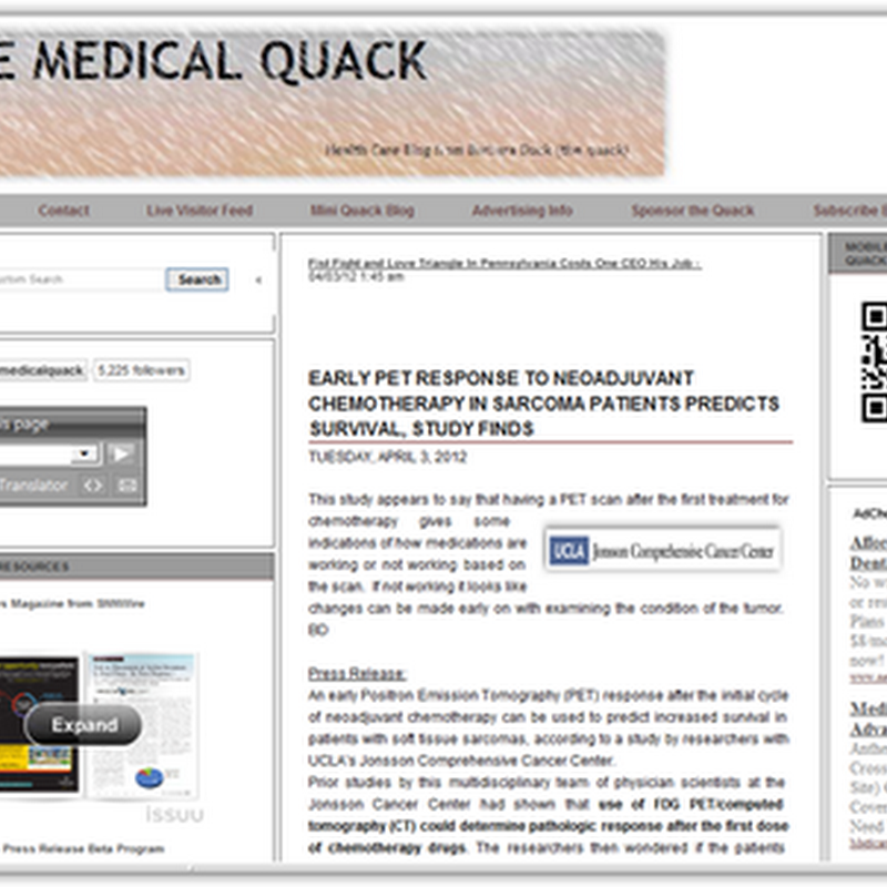 Medical Quack Has a New Blog Format–Added Resources and Some New Additional Information…