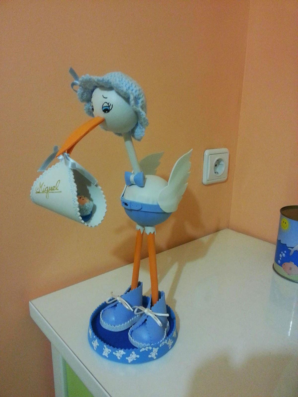 Fofureinas: Cigüeña goma eva azul