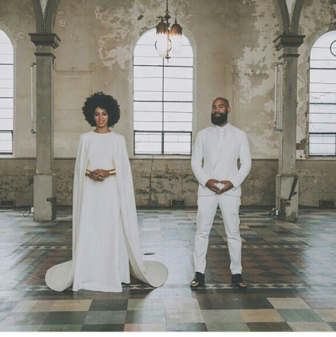 Solange Knowles weds her long time boyfriend in an all white Wedding