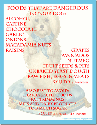 Foods dangerous to dogs from sweetteaandsimplicity.blogspot.com