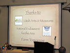 Thank you Utah Arts and Museums, National Endowment for the Arts and Form Tomorrow.