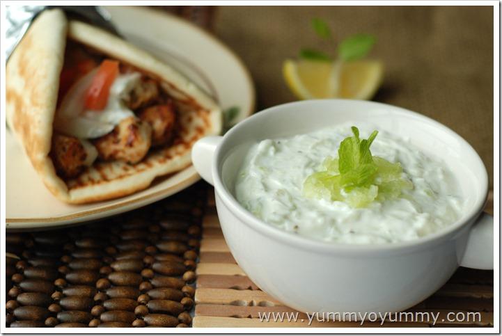 tzatziki sauce -yogurt and cucumber dip