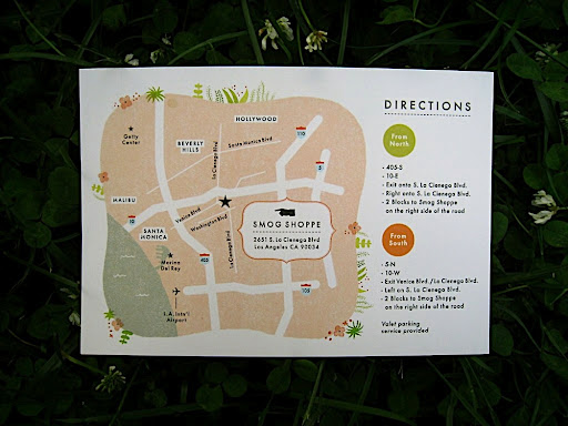 A map of and directions to the wedding site.