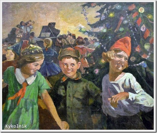 Колупаев Дмитрий Антонович (Россия, 1883 -1954) «Новогодняя елка в школе» 1950-е