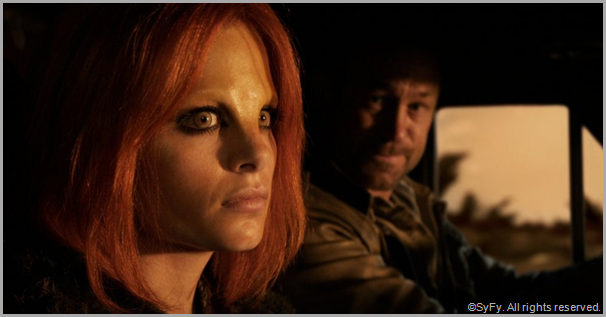 Stephanie Leonidas as Irisa and Grant Bowler as Joshua. CLICK to visit the official DEFIANCE site.