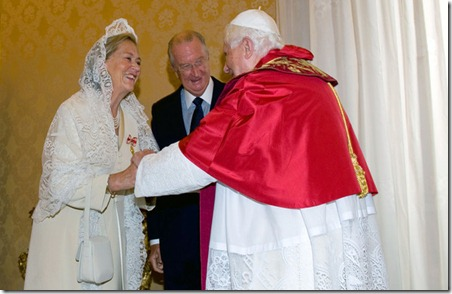 Pope Benedict XVI meets with King Albert II and Queen Paola of Belgium