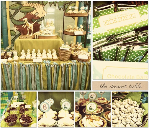 "the dessert table. clockwise from left, top picture: the table set up, chocolate bars with customised wrappers, chocolate marshmallows, mini banoffee pies by That Last Slice, vanilla cupcakes with cream cheese frosting by That Last Slice & ""dirt"" pudding cups that I made."