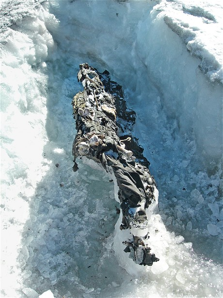 The remains of two Austrian soldiers found on the Presena Glacier in 2012. Global warming is revealing preserved bodies of World War 1 soldiers as glaciers melt in northern Italy. Photo: Office for Archaeological Finds, Autonomous Province of Trento