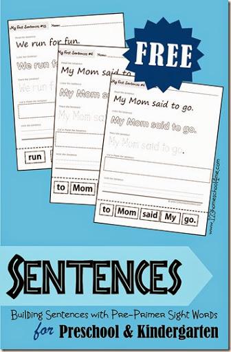 math worksheet : building sentences  free printable using pre primer sight words : Sentence Writing Worksheets For Kindergarten