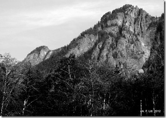 Preacher Mountain from Middle Fork Snoqualmie Road.  Washington.  August 13, 2012.  It is hard to keep track of the different peaks out there, so if I have the names wrong, please let me know!
