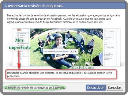 Revisión de etiquetas en Facebook