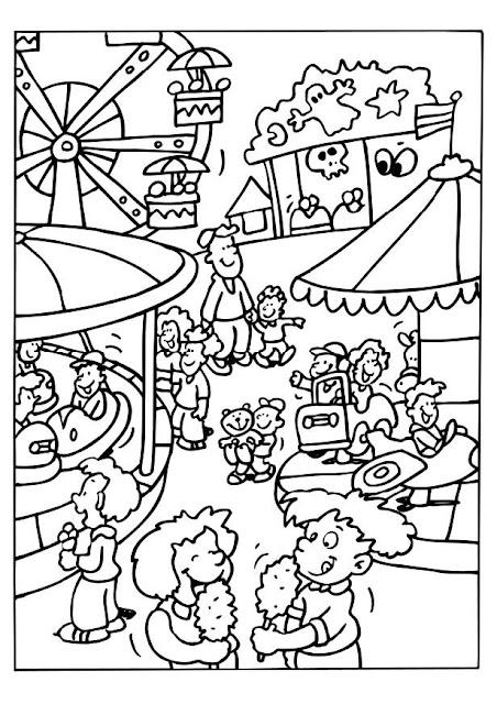 Dibujos infantiles de la feria para colorear for Como iluminar un parque