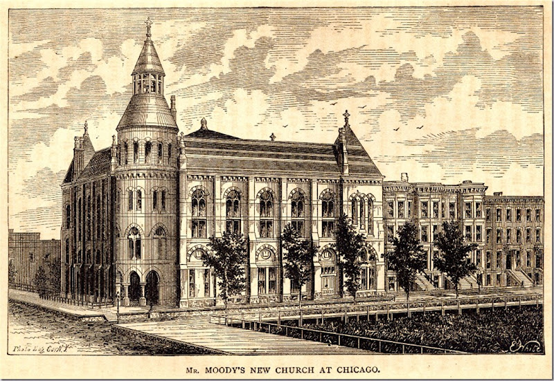 'Moody Bible Institute' 1876 from an old engraving - located at the corner of Chicago Ave. and North LaSalle