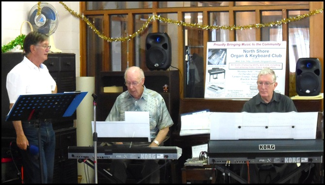 The North Shore Organ and Keyboard members that gave the Concert today were left to right: Len Hancy (jazz vocals); Peter Brophy (keyboard); and, Gordon Sutherland (keyboard).