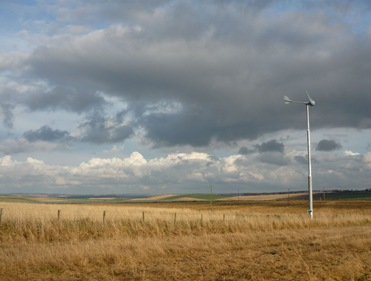 An Evance R9000 small wind turbine operating in Aberdeenshire