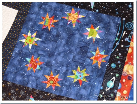 wonky star space quilt ring of stars block