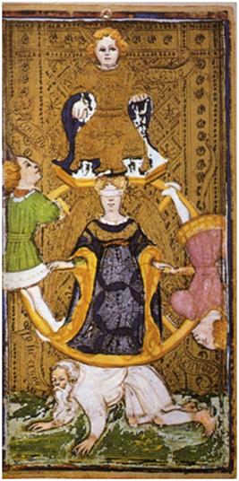 La Rueda de la Fortuna en el Tarot Visconti-Sforza, hacia 1428