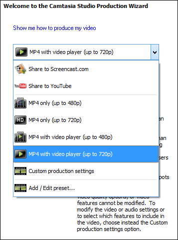production settings camtasia