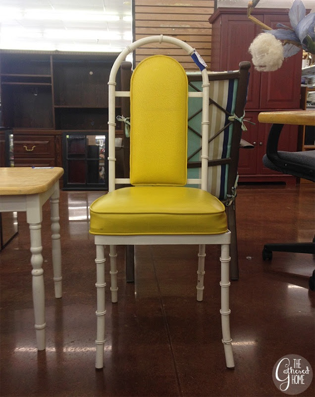 thriftscorethursday yellow & white faux bamboo chair