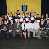 Sixth Year Award winners at the Mulroy College prize giving on Thursday night last Anne Marie Doherty,   Gillian Marley,  Martin Davis, Parmerica, Ian McGarvey, Donegal Mayor, Fiona Temple,Principal, Jason Black, guest Speaker, Tony McCarry, Parents Committtee, Scatha Farrell, BOM, and Catherine Crawford. Back row Year Head, Dympna English and Catherine McHugh, Deputy Principal. Photo Clive Wasson.