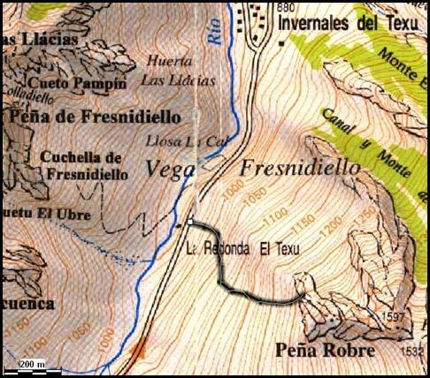 Mapa Arista Sanchez Sadia-Samper 300m 120m Rapel 6c¿ (V  A1 Oblig) (Peña Robre, Andara)