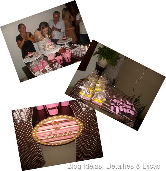 festa marrom e rosa tema cupcake 3