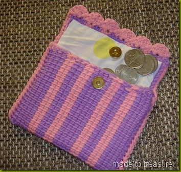tunisian crochet coin purse