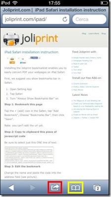 Bookmarklet Joliprint.com per iPhone, iPad, iPod touch
