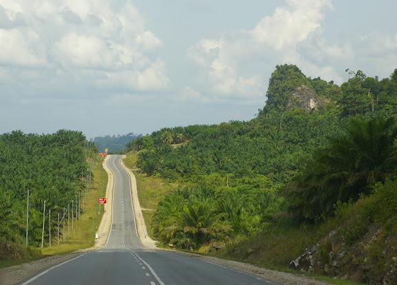 Le route à 15 km avant Sukau. 2 août 2011. Photo : J.-M. Gayman
