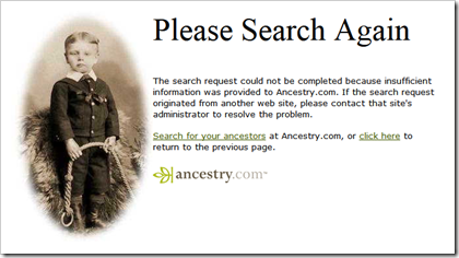Ancestry.com error message for BillionGraves database