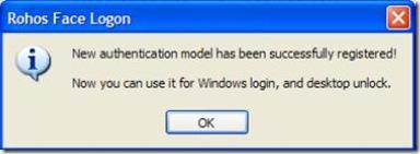 Rohos Face Logon Freeware notifica registrazione volto avvenuta con successo