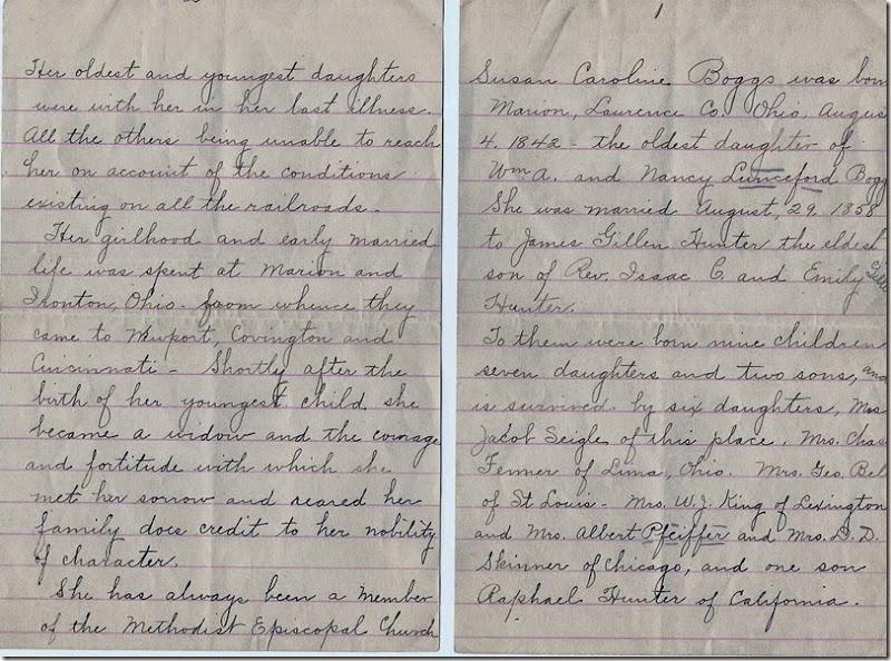 BOGGS_Susan C_handwritten_Obit_Page 1 & 2