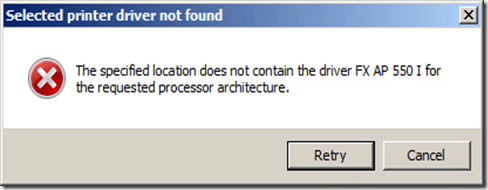 04 Selected printer driver not found